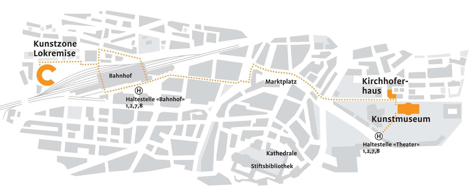 Lageplan des Kunstmuseums St.Gallen