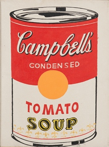 Andy Warhol (1928-1987), Campbell's Condensed Tomato Soup, 1962, Öl auf Leinwand, 30 x 23 cm, Schenkung Erna und Curt Burgauer 1987 © The Andy Warhol Foundation for the Visual Arts, Inc. / 2018, ProLitteris, Zurich