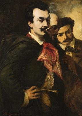 Frank Buchser, Los tres amigos, 1853, Öl auf Leinwand, 93 x 68 cm, Kunstmuseum St.Gallen, Sturzeneggersche Gemäldesammlung, Schenkung 1926.