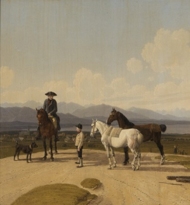 Wilhelm von Kobell, Reiter und Stallbursche mit Handpferden vor Rottach-Egern, 1827, Öl auf Holz,  22 x 21,5 cm, Kunstmuseum St.Gallen, Sturzeneggersche Gemäldesammlung, erworben 1938.