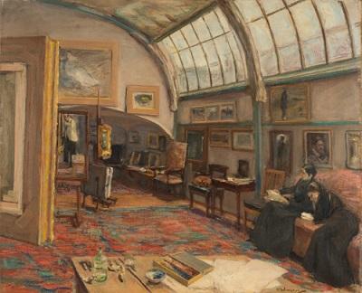 Max Liebermann, Atelier des Künstlers, 1902, Öl auf Leinwand, 68,5 x 82 cm, Kunstmuseum St.Gallen, Ernst Schürpf-Stiftung, erworben 1951.