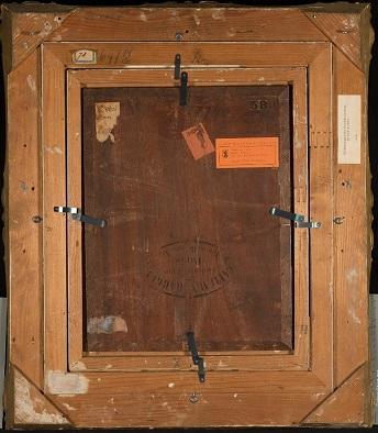 Lajos Bruck, Boulevard Paris, 1876, Öl auf Holz, 40,5 x 30 cm, Kunstmuseum St.Gallen, Sturzeneggersche Gemäldesammlung. Rückseitenansicht